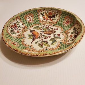 Vintage Daher Decorated Ware  Scalloped Tin Bowl